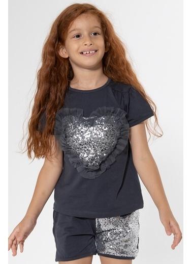 Colorinas Love Tutu Patch T-Shirt Kısa Kol Füme Füme